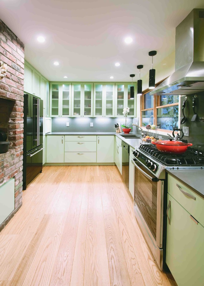 Braiser Kitchen Contemporary with Brick Walls Ceiling Lighting Green Cabinets Kitchen Hardware Le Creuset Pendant Lighting