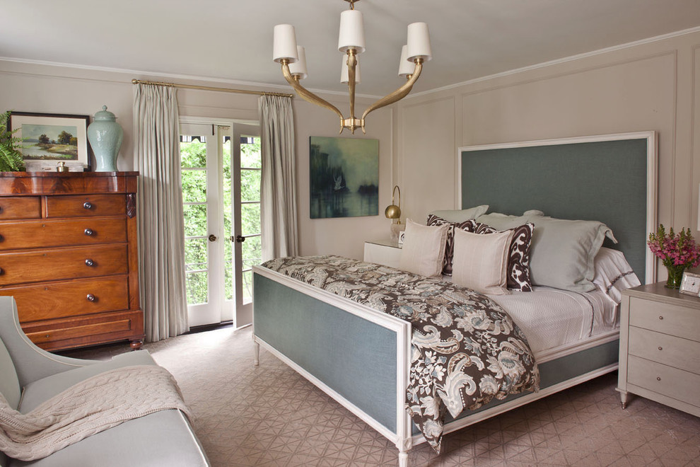 Brass Chandelier Bedroom Transitional with Beige Walls Blue Urn Brown Paisley Bedding French Doors Gold Chandelier Light