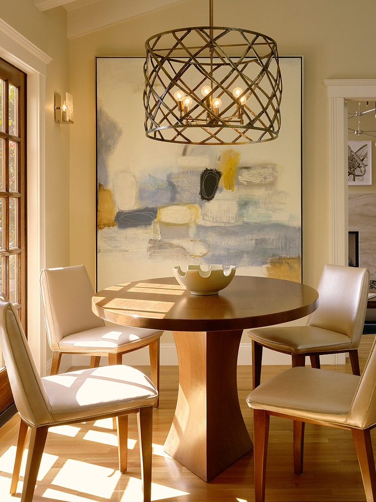 Brass Chandelier Dining Room Transitional with Abstract Art Art Breakfast Room Chairs Chandelier Contemporary Cream Walls Custom French