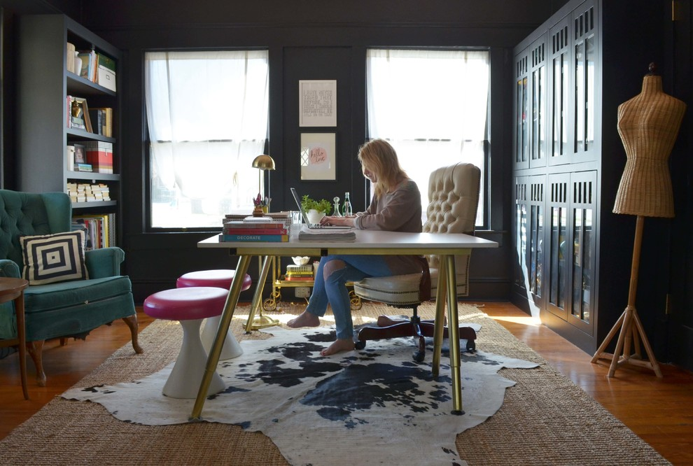 Brass Floor Lamp Home Office Eclectic with Designer Desk Eclectic Misty Spencer My Houzz