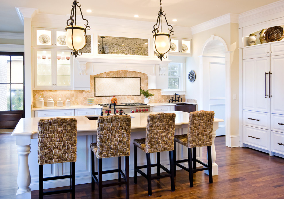 Breakfast Bar Stools Kitchen Traditional with Apron Sink Breakfast Bar Cabinet Front Refrigerator Crown Molding Eat in Kitchen