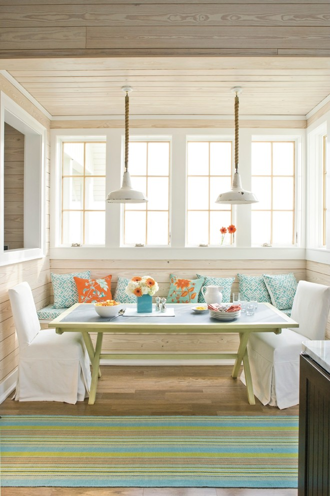 Breakfast Nook Bench Dining Room Beach with Bench Seat Built in Banquette Farmhouse Lights Light Wood Wall Paneling Striped