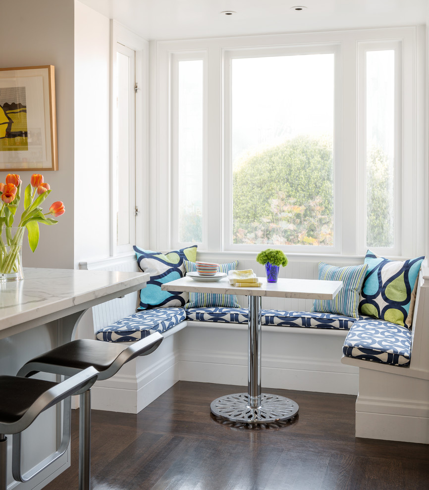 Breakfast Nook Table Kitchen Transitional with Beige Dining Table Black Bar Stool Blue Cushions Blue Patterned Cushions Blue