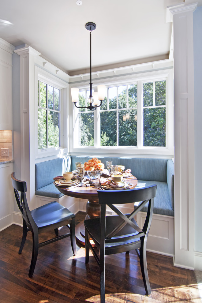 breakfast nooks Kitchen Traditional with bench seating breakfast nook cherry table columns dark stained flooring maple flooring