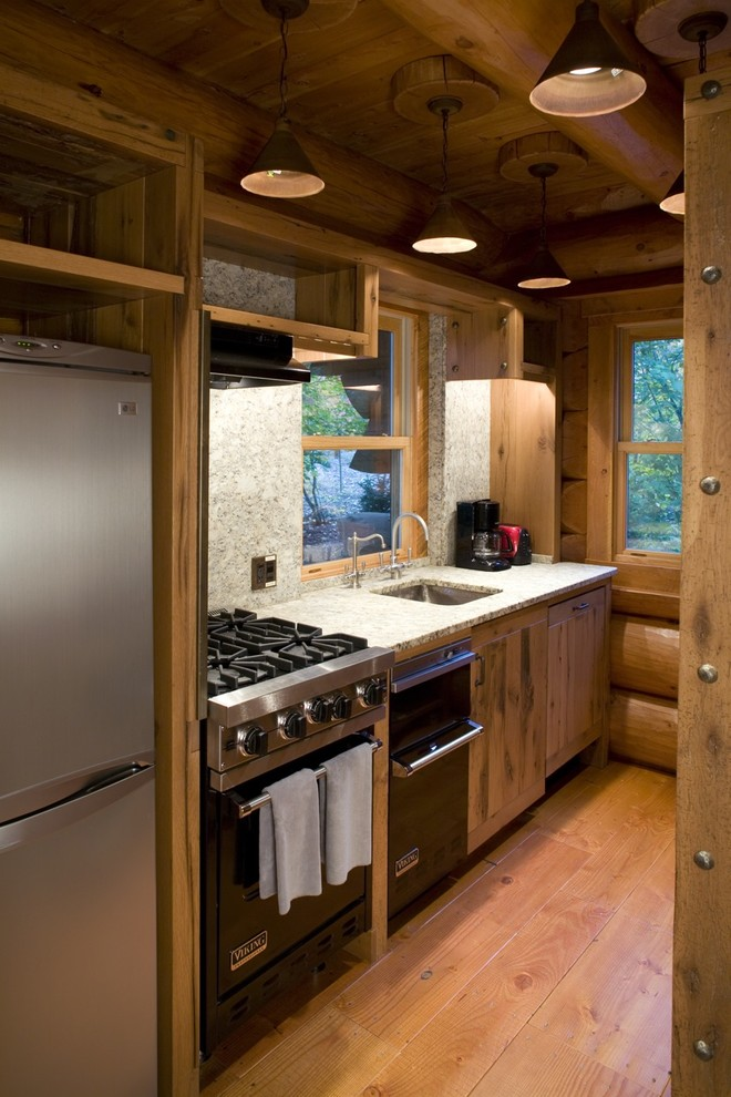 Breville Compact Smart Oven Kitchen Rustic with Black Appliances Granite Knotty Pine Log Beams Log Home Natural Wood Pendant