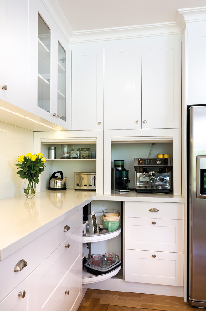 breville electric kettle Kitchen Transitional with bin pulls cabinet lazy susan cake stand cup pulls glass front cabinets