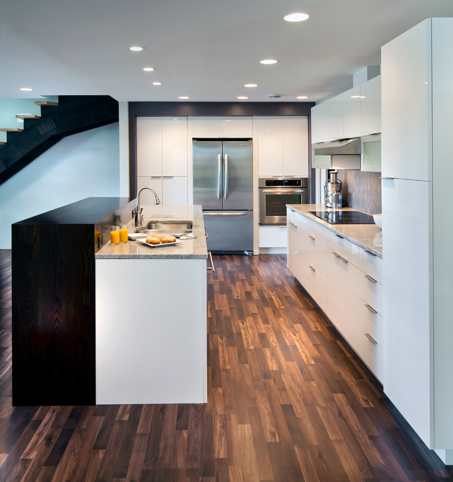 breville juicer Kitchen Contemporary with aluminum frame cooktop dark wood floor high gloss high gloss cabinets high