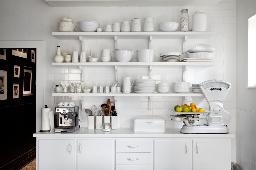 Breville Juicer Kitchen Contemporary with Brackets Espresso Machine Monotone Open Shelving Scale Subway Tile Tile Wall Utensils