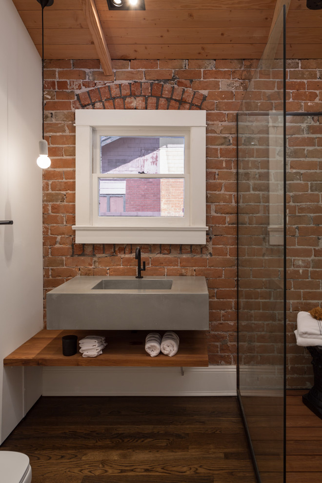 Breville Kettle Bathroom Industrial with Adaptive Reuse Brick Wall Bungalow Exposed Brick Floating Shelf Historic Preservation Modern