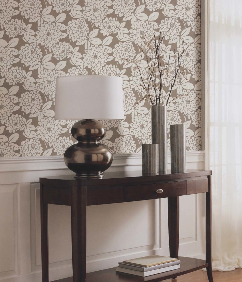 Brewster Wallpaper Entry Traditional with Brewster Wallpaper Brown and White Brown and White Wallpaper Brown Wallpaper Chic