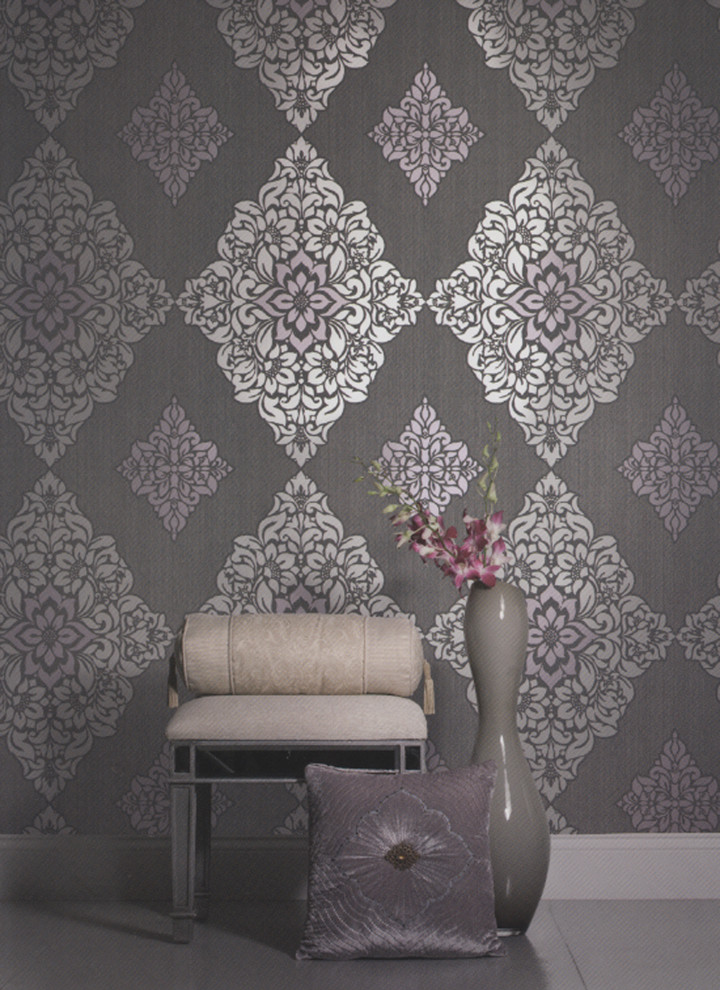 brewster wallpaper Spaces Contemporary with bedroom wallpaper brewster wallpaper chic wallpaper contemporary wallpaper damask damask wallpaper deluxe
