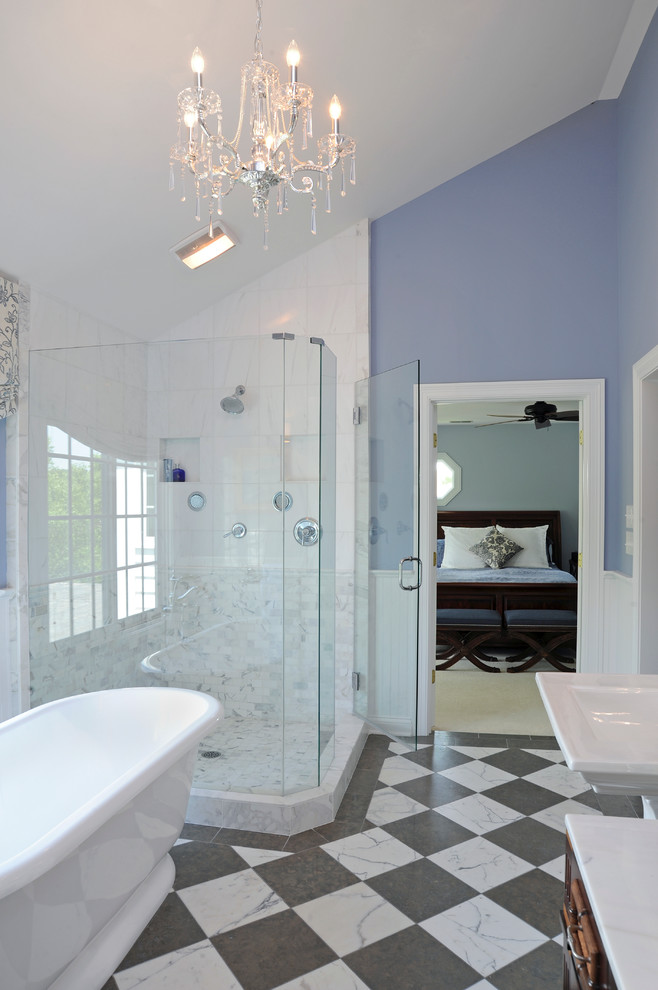 Broan Fans Bathroom Traditional with Bathroom Beadboard Paneling Blue Walls Chandelier Checkerboard Tile Freestanding Tub Glass Shower