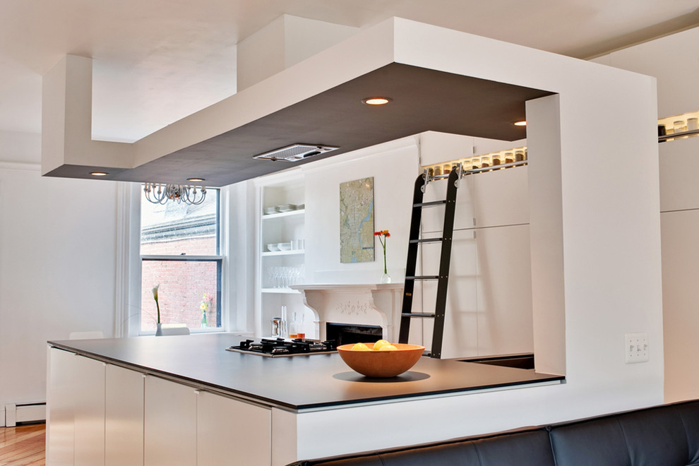 broan fans Kitchen Contemporary with ceiling lighting drop ceiling food storage fruit bowl library ladder minimal open
