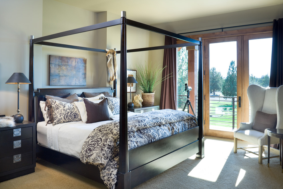 Browning Bedding Bedroom Rustic with Artwork Balcony Bed Pillows Bedside Table Canopy Bed Four Poster Bed Glass