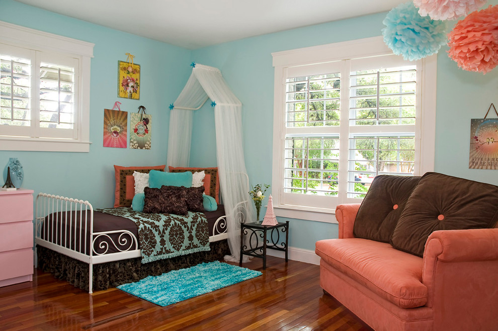 Browning Bedding Kids Contemporary with Brown Bedding Coral Armchair Plantation Shutters Pom Pom Sophisticated Teenage Girl Turquoise Walls