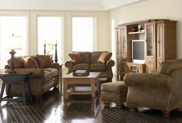 Broyhill Chairs Family Room with Bomber Jacket Broyhill Furniture Cabin Coffee and Side Tables Comfortable Cottage Distressed