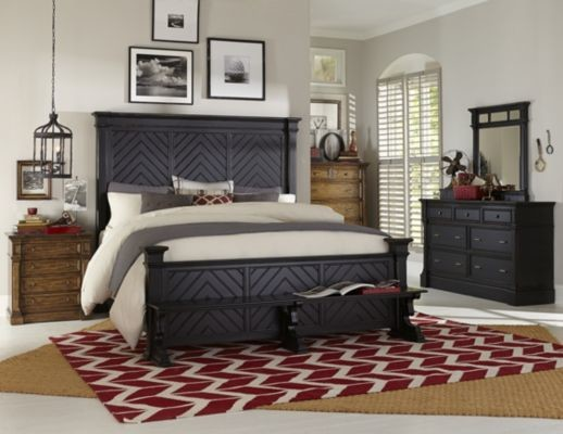 Broyhill Furniture Bedroom with Beds and Bed Heads Bedside Table Bench Seating Benchseat Footboard Black Bed