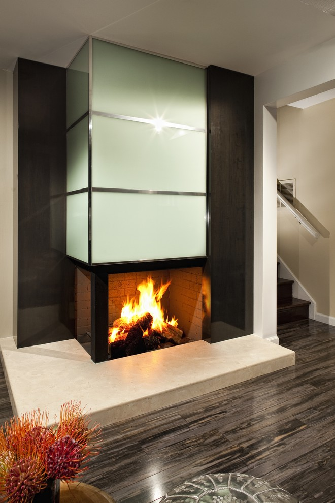 Bruce Wood Flooring Family Room Modern with Beige Wall Brown Floor Corner Fireplace Dark Wood Stairs Family Room Fireplace