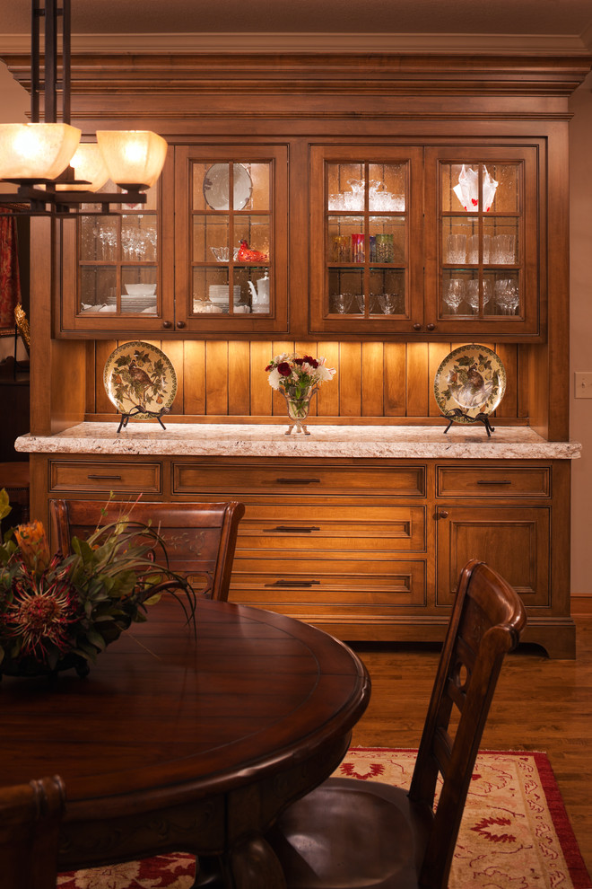Buffet and Hutch Dining Room Traditional with Alder Alder Cabinetry Clear Alder Dining Buffet Dining Hutch Glass Cupboards Glass