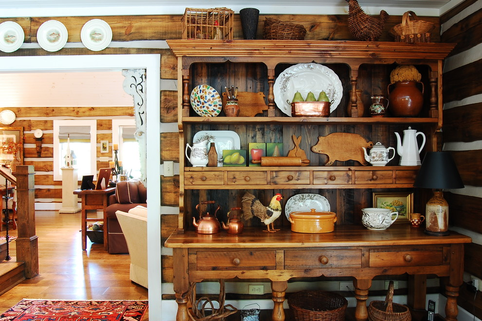 Buffet Hutch Dining Room Rustic With Area Rug Baskets Cabin Corner Display  Cabinet Earth Tones Entry