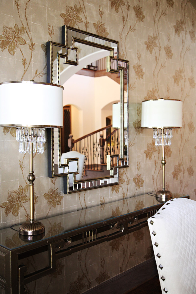 Buffet Lamp Dining Room Contemporary with Brass Console Table Crystals Floral Floral Wallpaper Greek Key Mirror Mirrored Console