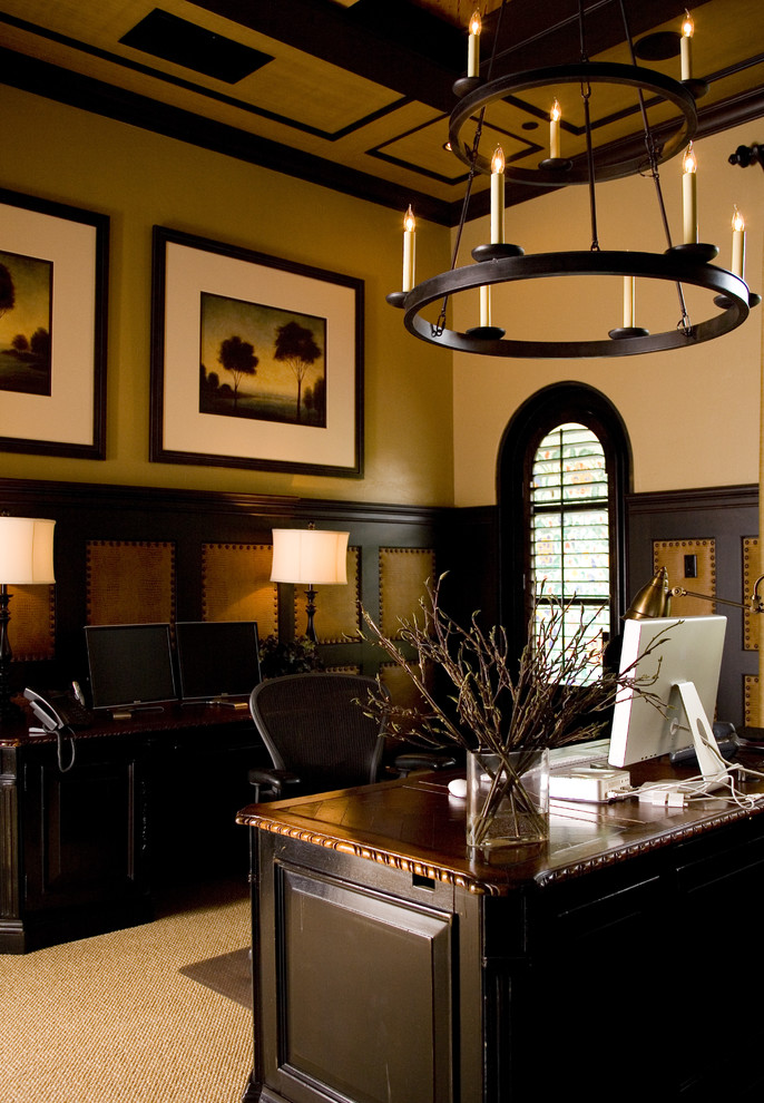 buffet lamps Home Office Mediterranean with ceiling treatment chandelier coffered ceiling crown molding leather accents nailhead trim tablescape