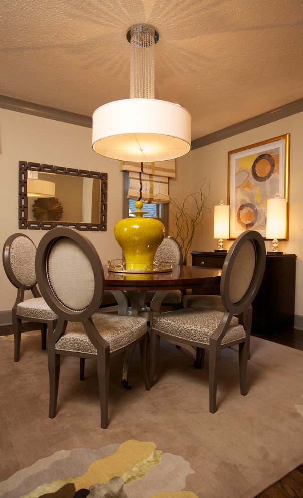 Buffet Table Lamps Dining Room Traditional with Beige Drum Pendant Beige Patterned Dining Chair Beige Rug Beige Wall Dark