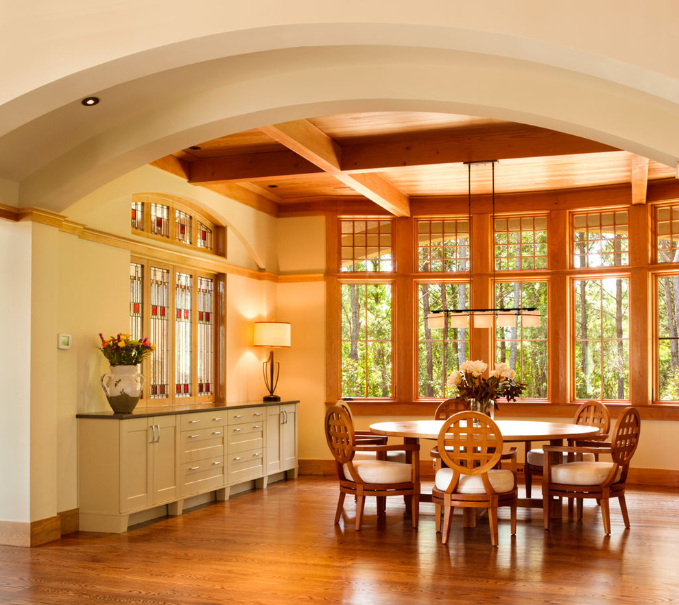 Buffets and Sideboards Dining Room Traditional with American Craftsman Style Arched Opening Baseboards Cassique Ceiling Lighting Chandelier Charles Rennie