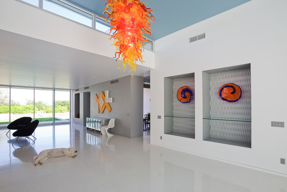 Built in Charcoal Grill Entry with Bright Colors Bright Orange Glass Sculpture Contemporary Contemporary Artwork Contemporary Design Desert