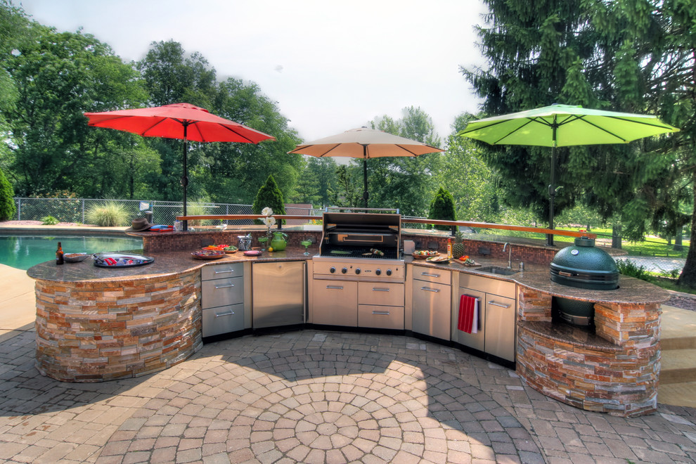 Built in Charcoal Grill Patio Contemporary with Brick Pavers Flagstone Gas Grill Granite Countertops Granite Topped Bar Green Egg