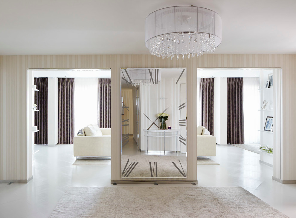 Bulova Clocks Hall Contemporary with Brown Curtains Chandelier Clock Entrance Hall Entry Hall Large Mirror Mirror Clock