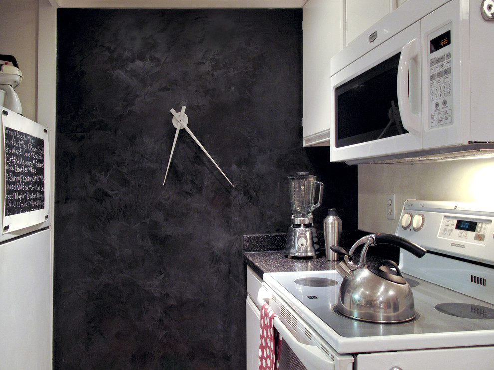 Bulova Clocks Kitchen Eclectic with Accent Wall Black and White Black Wall Dark Wall Kitchen Metal Clock