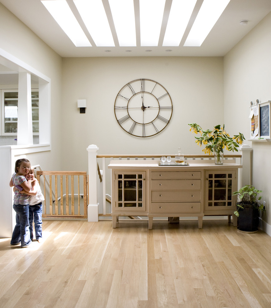 Bulova Clocks Staircase Traditional with Antique Buffet Childproof Clock Console Table Family Friendly Gate Hardwood Floors Light
