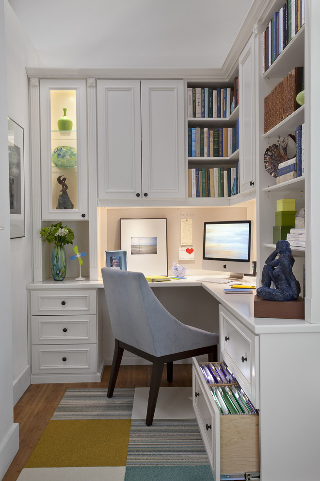 Bungee Office Chair Home Office Traditional with Apartment Area Rug Baseboards Basement Book Shelf Bookshelves Built in Built In