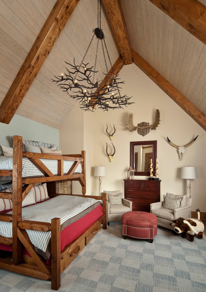 Bunk Bed Twin Over Full Kids Traditional with Antler Chandelier Antler Decor Bed Storage Beige Armchair Beige Wall Blue Wall
