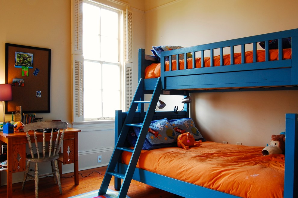 Bunk Bed Twin Over Full Kids Traditional with Beige Wall Blue Bunk Bed Blue Pillow Bold Boys Bedroom Boys Room