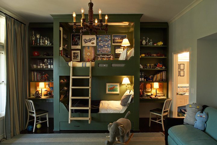 Bunk Bed with Desk Kids Eclectic with None