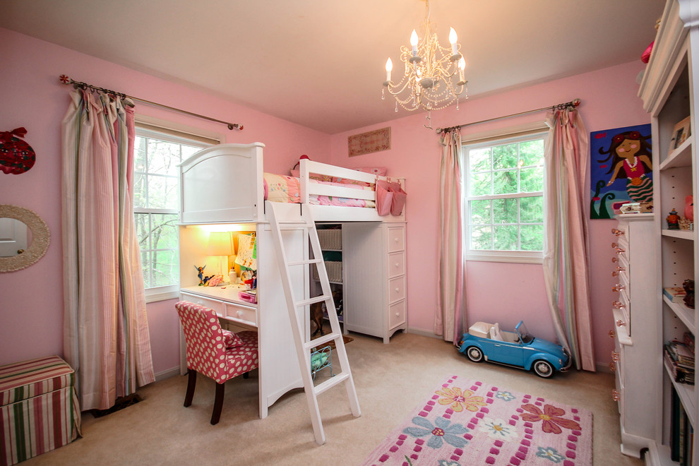 Bunk Bed with Desk Kids Traditional with Bookcase Chandelier Desk Loft Bed Pink Pink and White Pink Curtain Pink