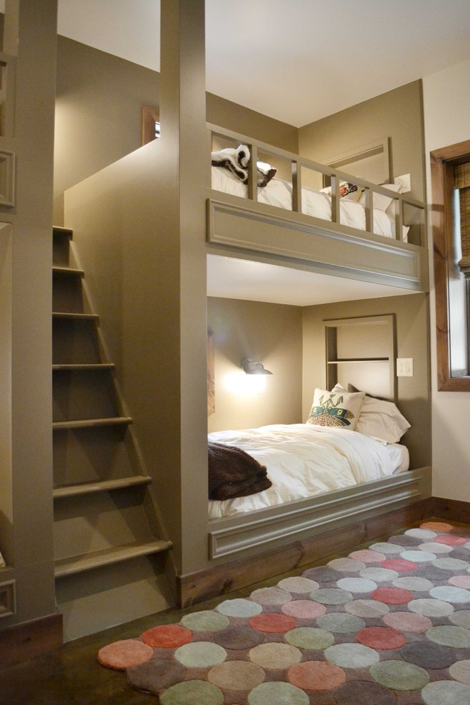 Bunk Bed with Futon Kids Contemporary with Alcove Baseboards Built in Bunk Beds Bunk Beds Cubbies Dutch Bed Loft