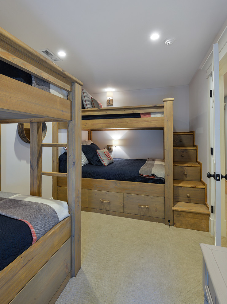Bunk Bed with Stairs Bedroom Tropical with Beige Carpet Blue Bedding Bunk Beds Bunk Room Recessed Lighting Stair Storage