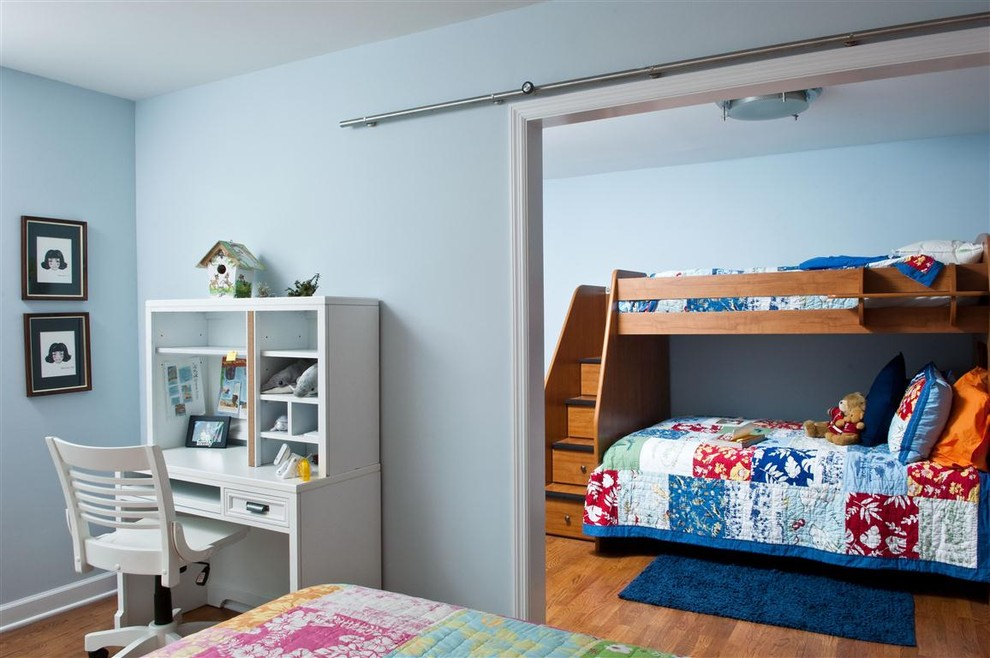 Bunk Bed with Stairs Kids Contemporary with Barn Door Bedroom Bunk Beds Ceiling Lighting Desk Desk Chair Flush Mount