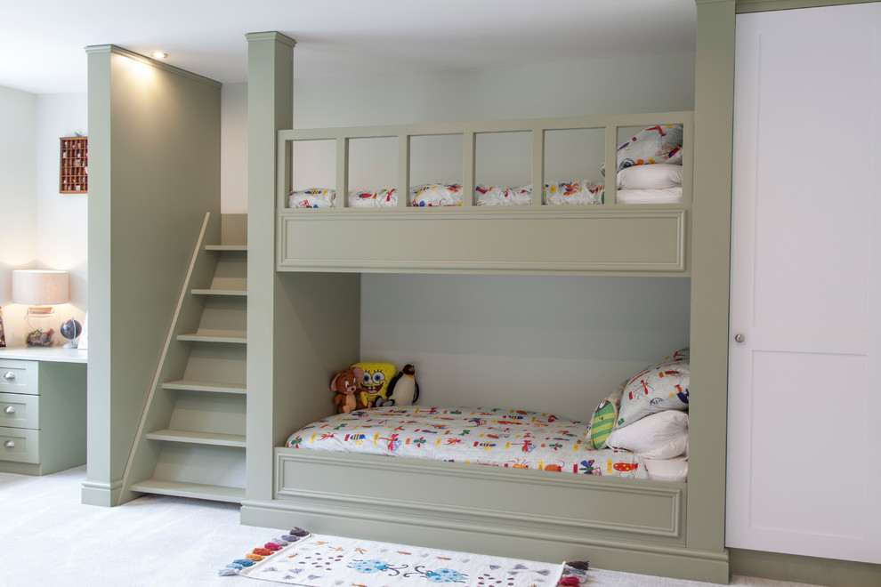 Bunk Bed with Stairs Kids Transitional with Boys Bedroom Bunk Beds Childrens Decor Childrens Beds Colorful Bedding Desk Gray