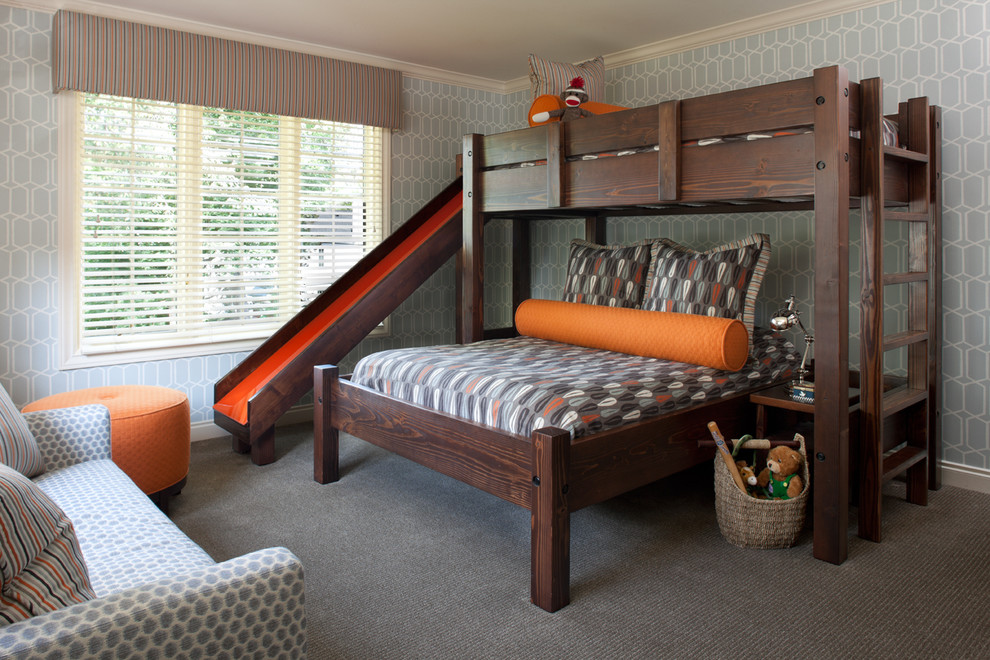 bunk beds with slide Kids Transitional with bedroom sitting area boys bedroom boys' bedroom bunk bed ladder bunk bed