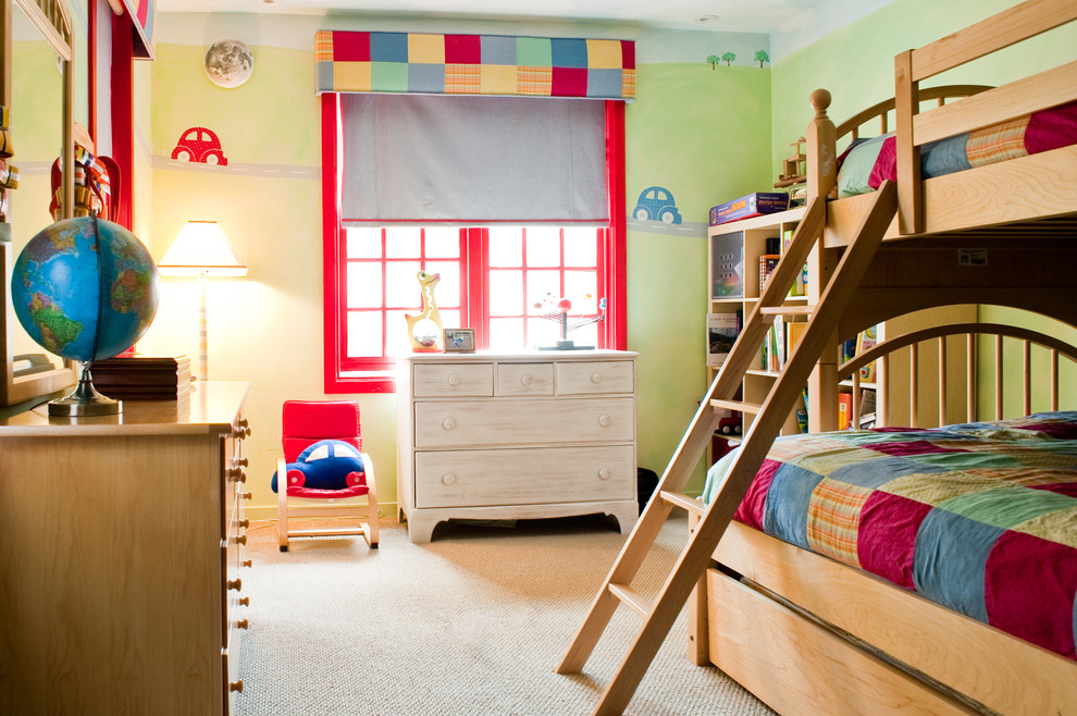 Bunk Beds with Trundle Kids Eclectic with Book Shelves Boys Bunkbeds Carpeting Cubbies Dresser Green Kids Mirror Quilt Red1