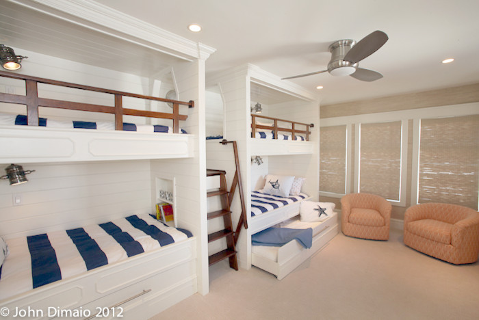 Bunk Beds with Trundle Kids Traditional with Blue and White Built in Bunk Beds Bunk Ladder Bunk Room Ceilng1