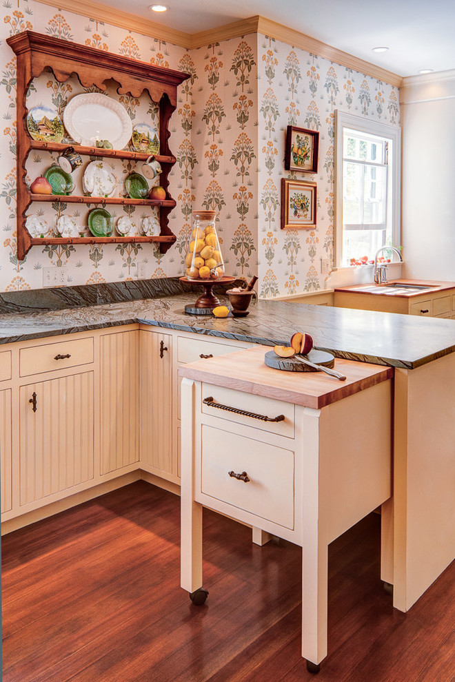 butcher block cart Kitchen Traditional with beige cabinets beige drawers butcher block cart butcher block island display plates