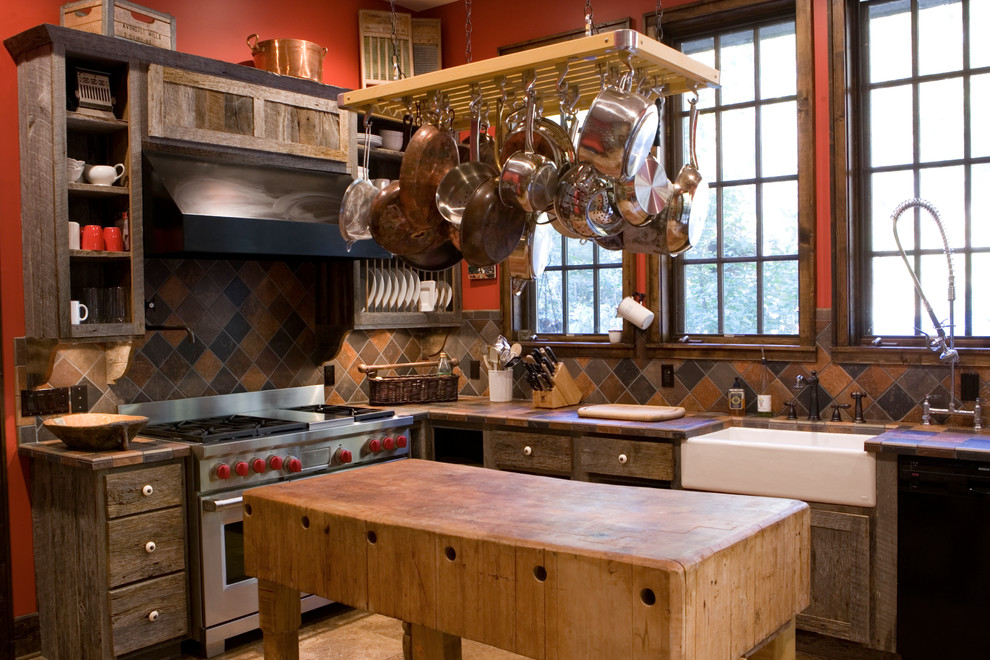 Butcher Block Tables Kitchen Rustic with Butcher Block Island Cabin Earth Tones Enclosed Kitchen Farmhouse Sink L Shape