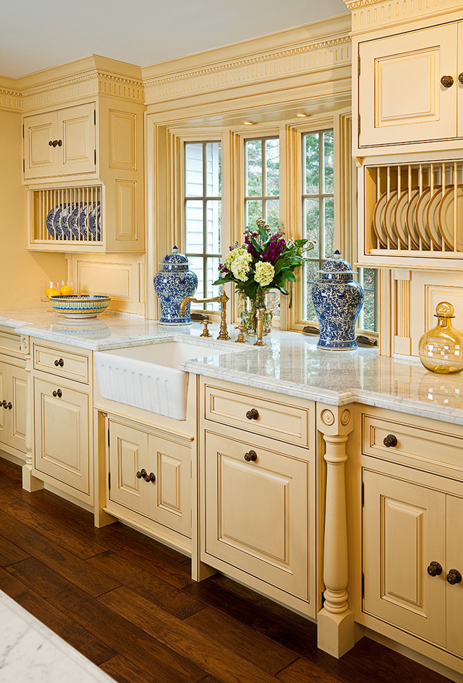 Butter Dish with Lid Kitchen Traditional with Apron Sink Bay Window Cabinetry Custom Dark Floor Farm House Sink Farm