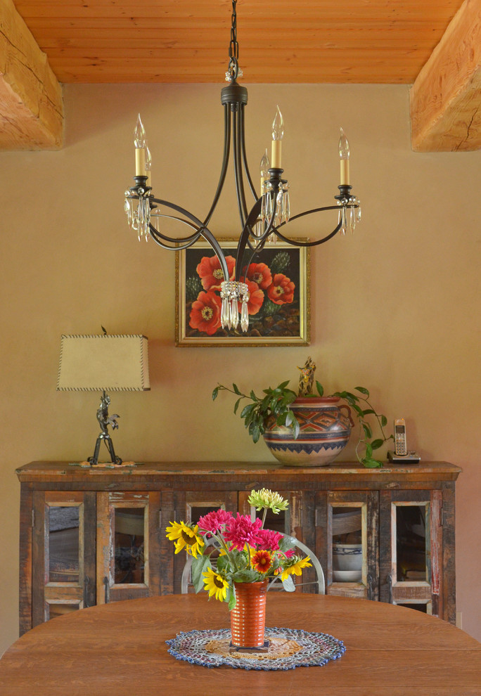 Cable Box Shelf Dining Room Rustic with Adobe Art Beams Buffet Cabin Ceramics Chandelier Console Flowers Hand Crafted Hutch Iron