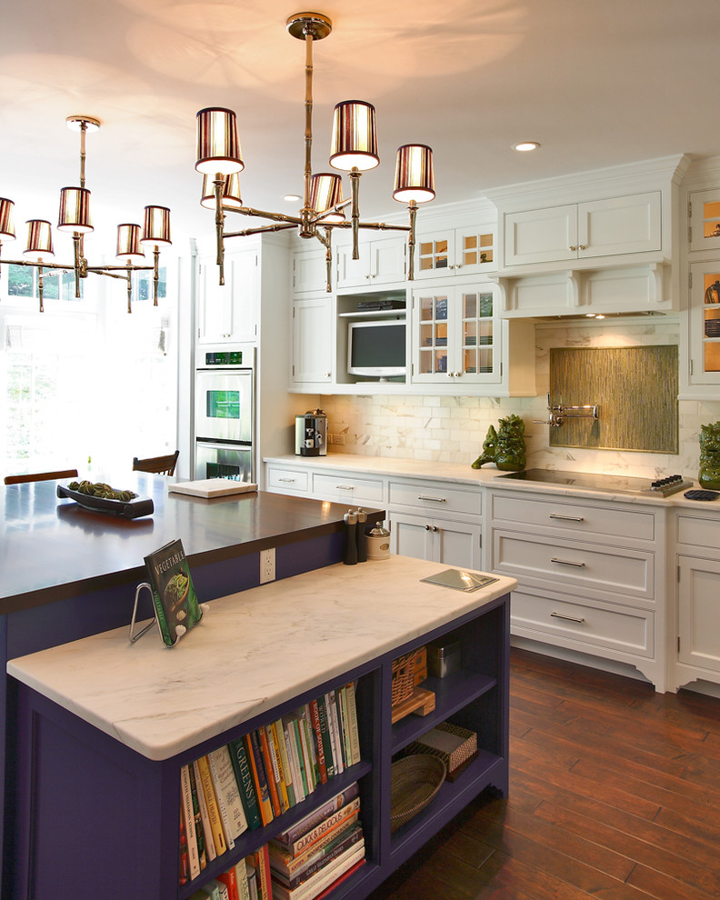 cable box shelf Kitchen Transitional with Asian asian chandelier bamboo blue and green book shelves calacatta cararra marble